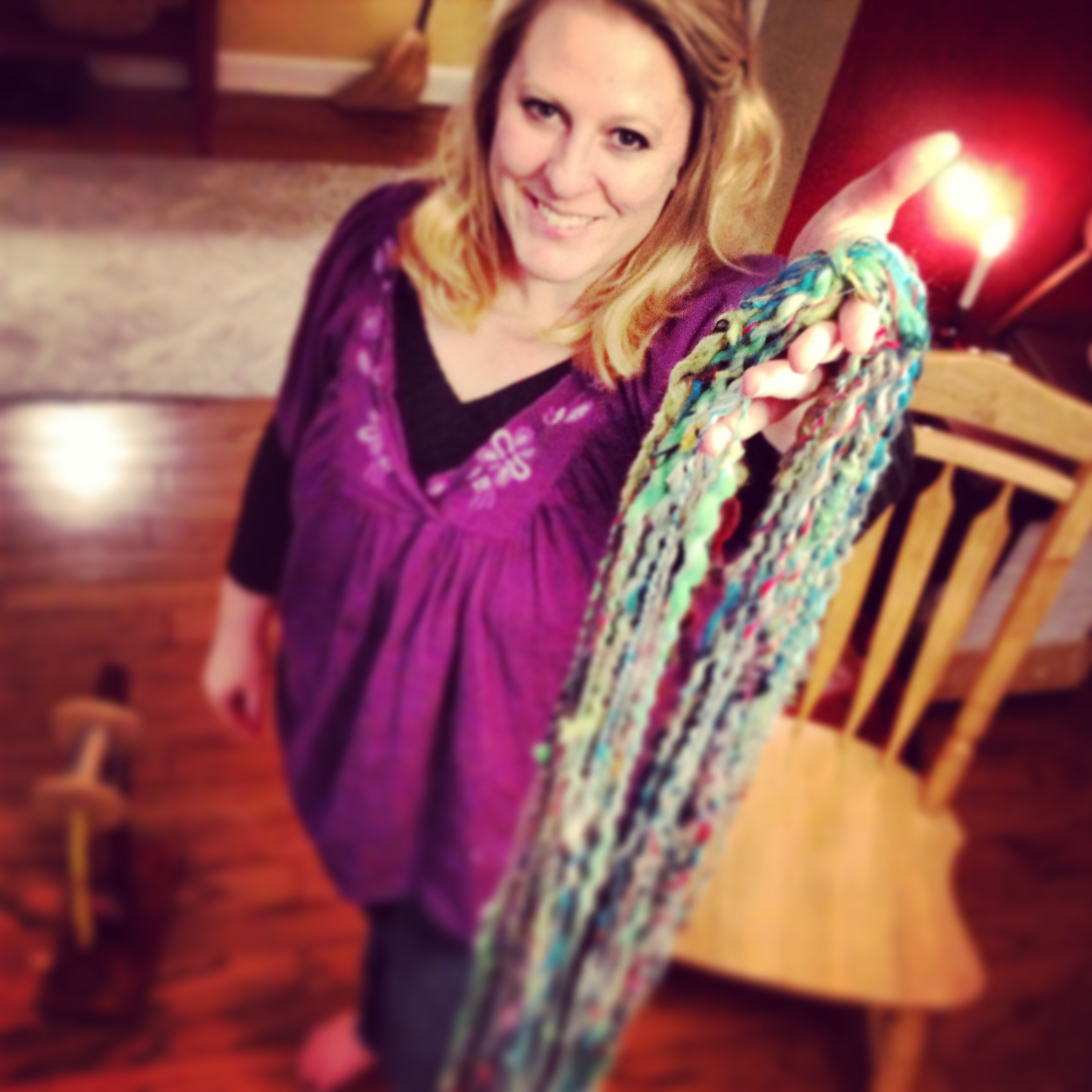 Cyndi Minister owner of The Twisted Purl with Handspun Yarn Handmade