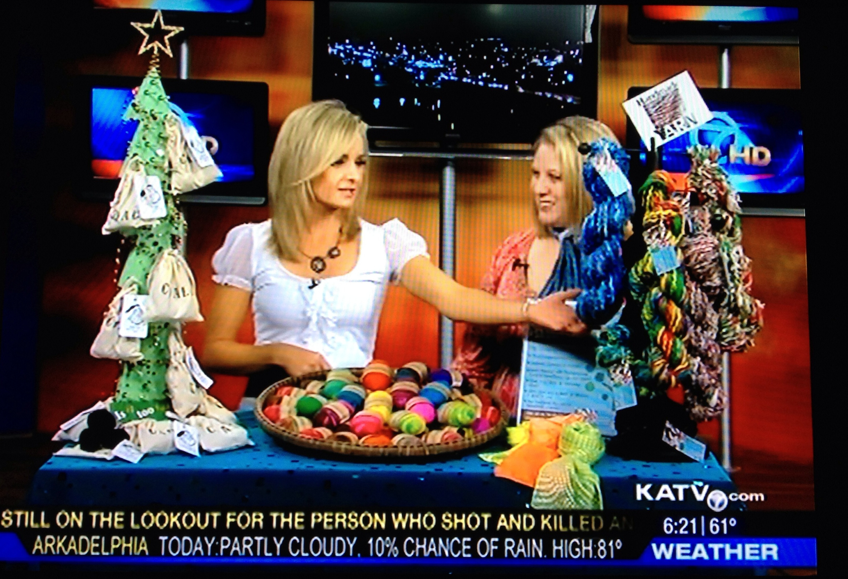 Cyndi Minister, owner of The Twisted Purl, on tv with products