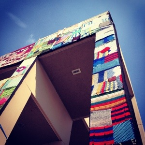 Yarn Bombed Building Arkansas Art Center