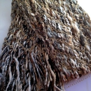 Alpaca Handspun Yarn turned into a Scarf