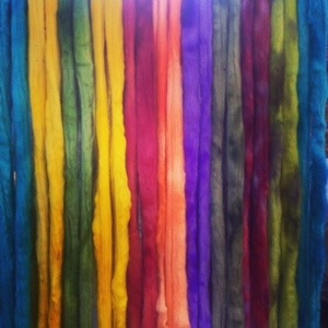 Hand Dyed Fiber Hanging to Dry