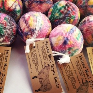 Wool Felted Dryer Balls with descriptive tag