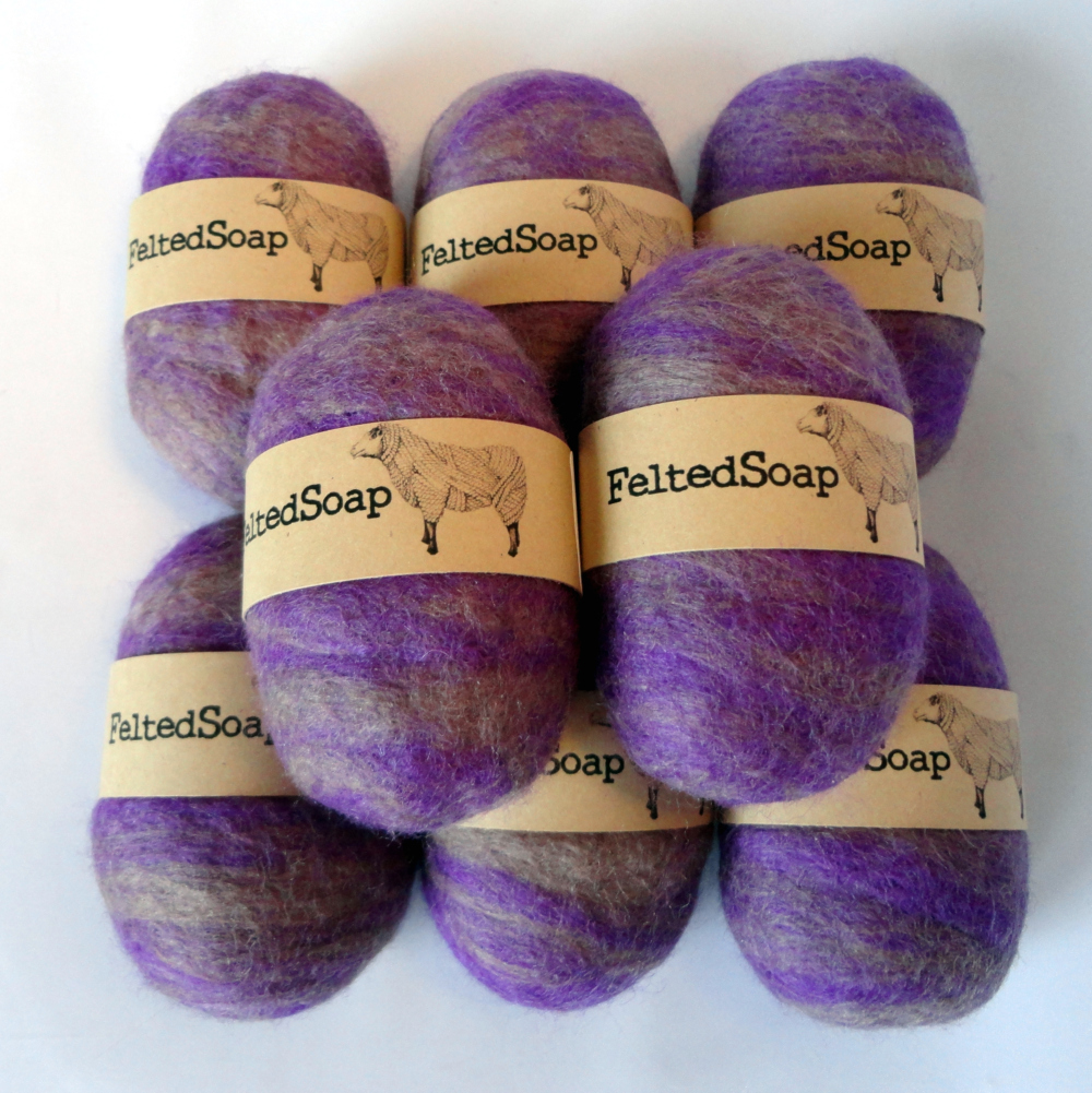 Custom Colors Wholesale Bulk Felted Soap with Labels by The Twisted Purl