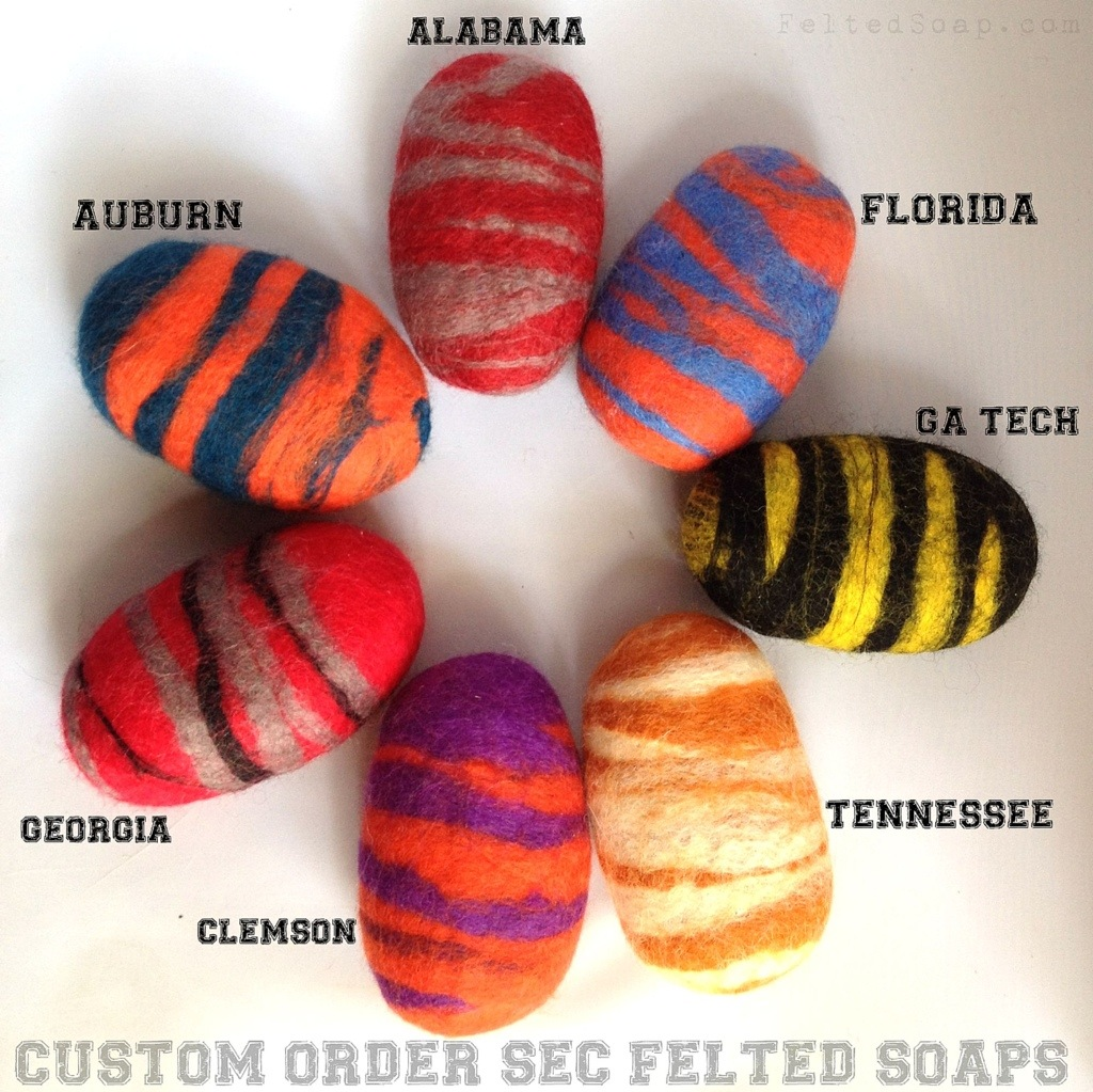 Custom order for SEC colored Felted Soaps