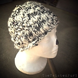 Finished Knit Hat using Thick and Thin Handspun Yarn