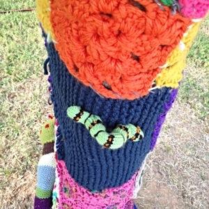 Caterpillar on Tree Knit at Arkansas Art Center