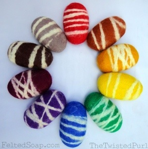 Rainbow Felted Soap by The Twisted Purl available now in wholesale and bulk too