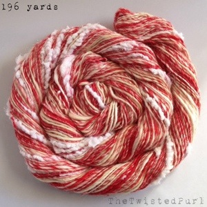 Christmas Candycane Peppermint Handspun Yarn by The Twisted Purl