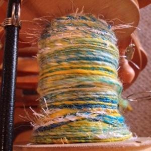 Handspun Yarn on Spinning Wheel