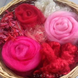 Basket of carefully selected fibers to be turned into Handmade Yarn