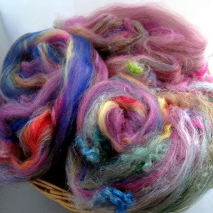 Carded Batts created from basket of fluff