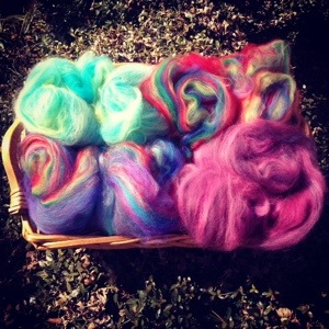 Basket full of Carded Batts made by Kate